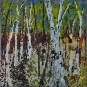 "Birch Walk encaustic on birch panel 20"" x 20"" Marion Meyers $300"